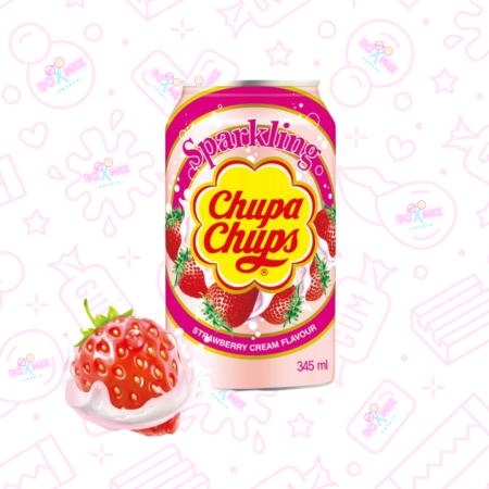 Chupa Chups Strawberry Cream Can 330ml - boxmix.co.uk